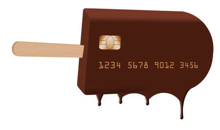 A chocolate ice cream bar on a stick is decorated to look like a credit card in this 3-D illustration about credit freezes to protect your credit report. 免版税图像