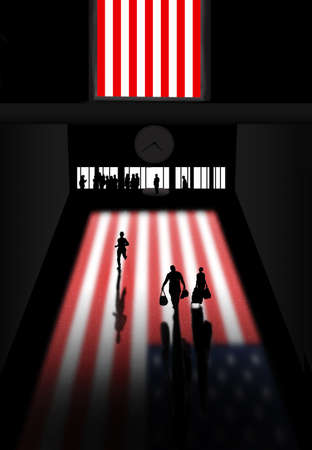 Here is a fictional USA train station decorated with a large USA flag in the window that casts color on the floor of the station. This is a 3-D illustration. 免版税图像
