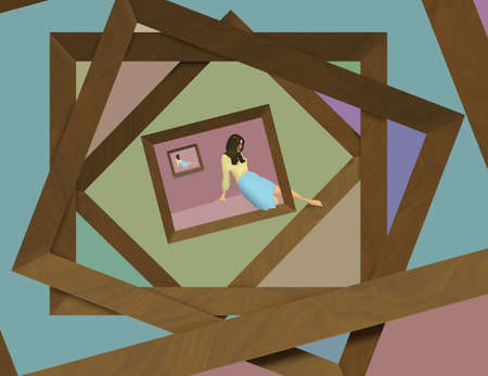 A girl inside a picture frame slips out of her frame quietly. This is a 3-D illustration