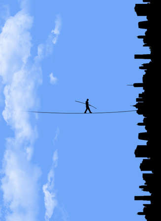 In a world turned sideways a man walks a tightrope from clouds to a city below. This is a 3-d illustration.