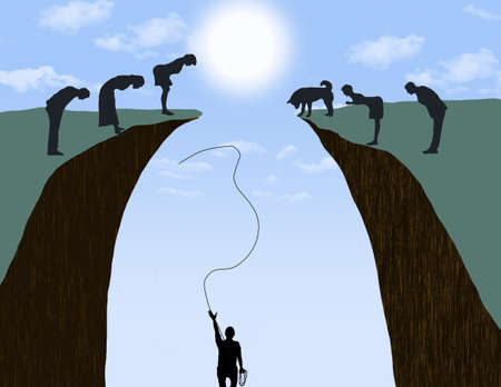 A man in a ravine who needs help to get out throws a rope toward people above who make no effort to help in this 3-d illustration.