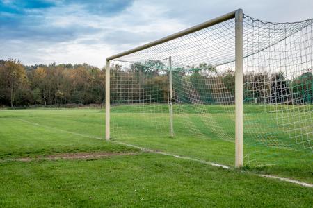 goalline: Empty Soccer goal Stock Photo