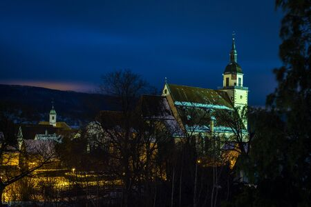 teck: Small Town Weilheim an der Teck at night Stock Photo