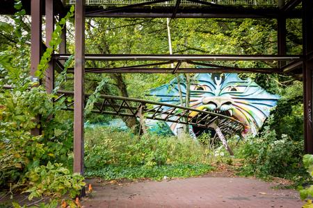 Abandoned rollercoaster track in former Spreepark