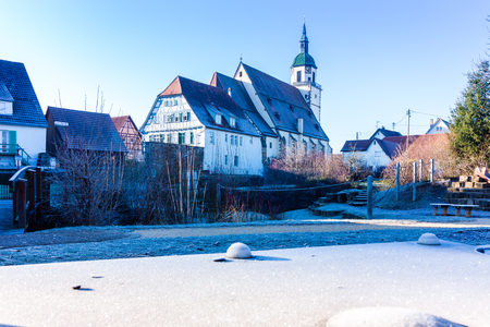 teck: St. Peters Church, Weilheim  Teck in Winter Stock Photo