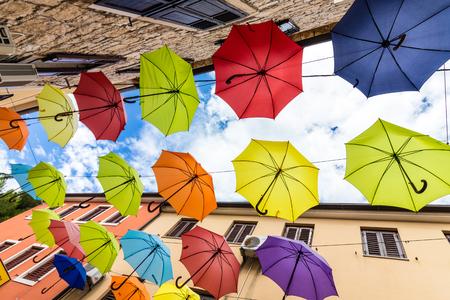 Multi colored umbrellas Editorial