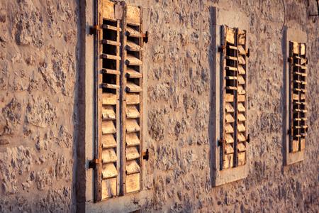 Three Shutter in evening light Standard-Bild