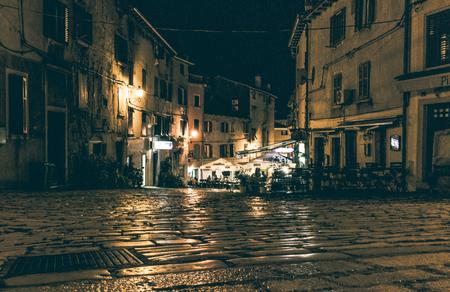 Rovinj old town at night Standard-Bild