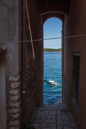 View through a bridge to the sea