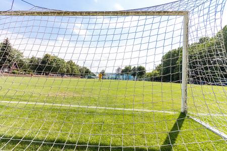 Empty soccer goal Stok Fotoğraf
