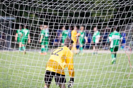 A goalie in a soccer match Stok Fotoğraf