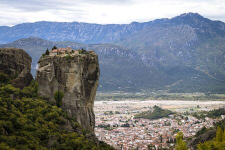 View to monastery of holy trinity at Meteora Archivio Fotografico