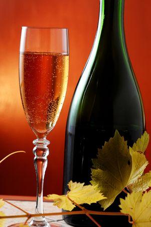 wijn fles en glas geïsoleerd op rood