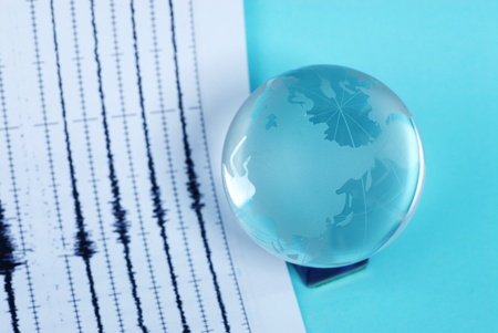 richter: earth quake and world globe Stock Photo