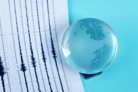earth quake and world globe Stock Photo