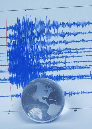 earthquake crack: earth quake and world globe Stock Photo