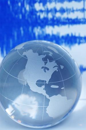 earth quake and world globe  photo
