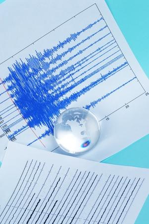 quake: earth quake and world globe Stock Photo