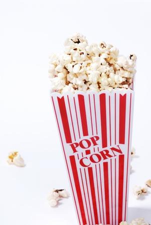 popcorn isolated on white photo