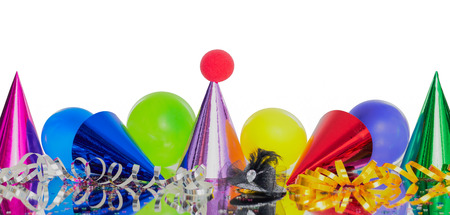 Carnival headers with cones and balloons Stock Photo