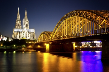 Cathedral in Cologne, Germany  In front the river Rhein
