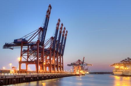 hamburg: Container Terminal in Hamburg, Germany  Night shot