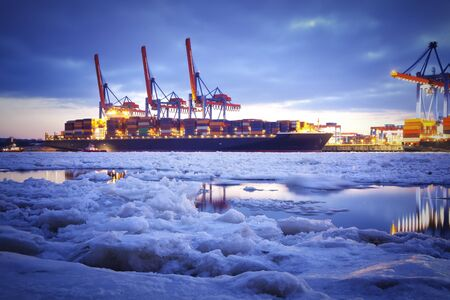 Container Terminal in Hamburg, Germany  Night shot, winter time