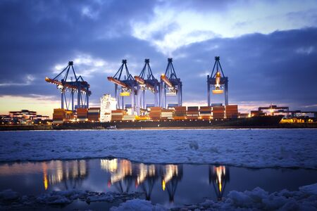 photography themes: Container Terminal in Hamburg, Germany  Night shot during winter
