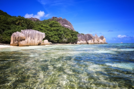 argent: Beach Source d Argent - Seychelles Stock Photo