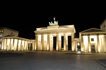 west gate: Brandenburger Tor at Berlin, capital from Germany  Night shot from the East Side, Pariser Platz