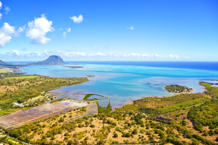 mountain oasis: Helicopter flight over the island at Mauritius  Stock Photo
