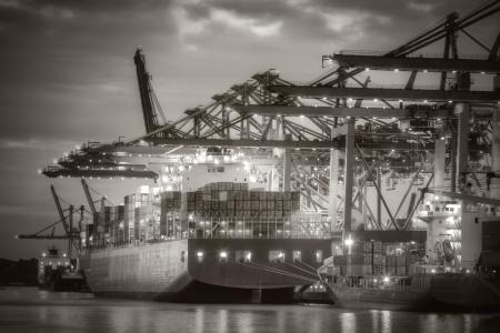 Container ship in the harbor of Hamburg  Black and White  Foto de archivo