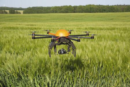Flying drone in field -field in Germany