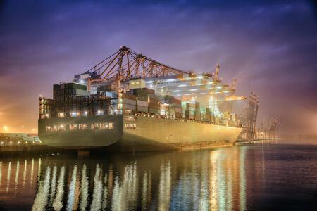 Container Terminal in Hamburg, Germany. Night shot.