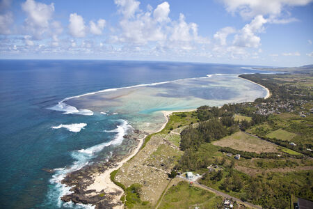 tourist feature: Helicopter flight above the island of Mauritius  Photo shows the south coast  Stock Photo