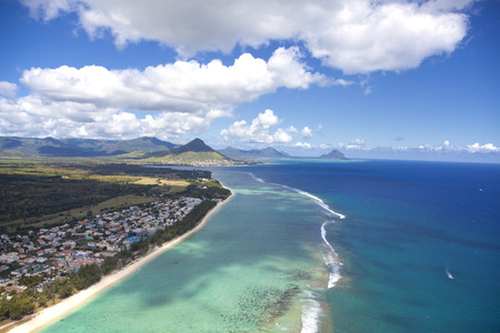 viewpoints: Flying with a helicopter over the paradise island Mauritius
