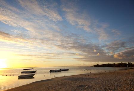Sunset at paradise beach at Mauritius, Africa