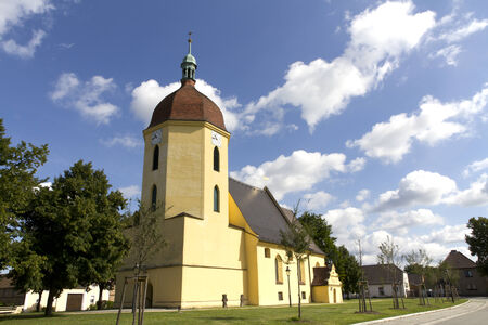 Photo Shows A Church In Germany  Sunny Weather With Cloudy Sky  photo