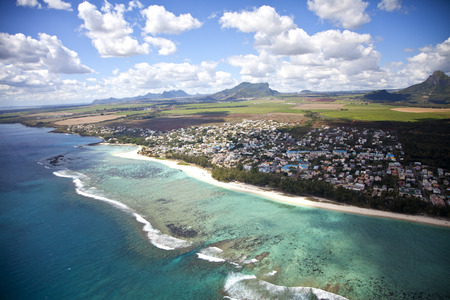 Sky view over the island of Mauritius  The picture shows the Hotels at the south of the island