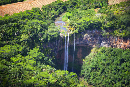 Water fall at the island of Mauritius  Helicopter Flight