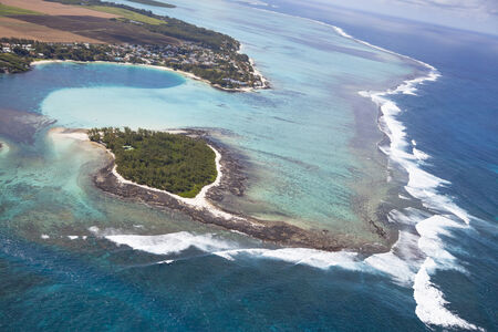 mauritius: Iceland Mauritius. Aerial View - in front the Iceland Deux Cocos. Stock Photo