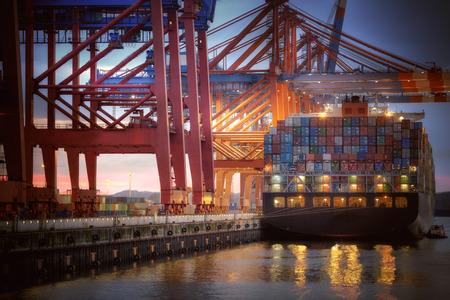 Container Terminal in Hamburg, harbor - nightshot.