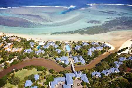 Sky view over the island of Mauritius. The picture shows the Hotels at the south of the island.