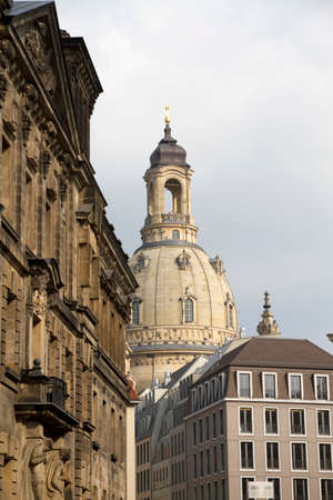 Picture shows the Frauenkirche at Dresden, with skyline around the church