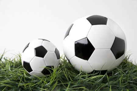 Picture shows two footballs on a green field. Tabletop with white background