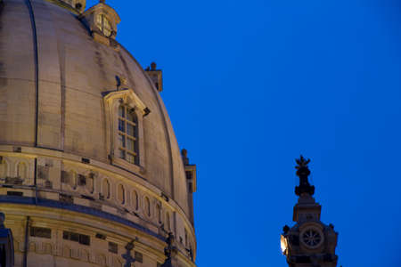 Frauenkirche at Dresden by night. Nightshoot with focus of the dome. The church was destroyed 1945 and rebuilt 1994 to 2005