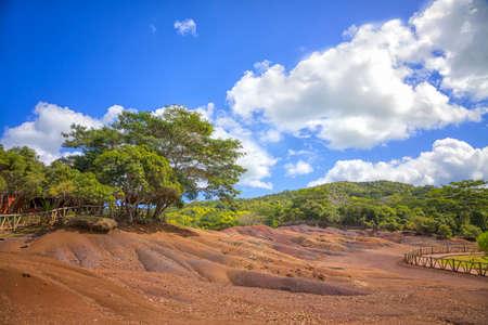 Seven red colored earth at Mauritius. Foto de archivo