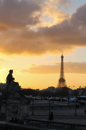 Sunset in Paris Stock Photo