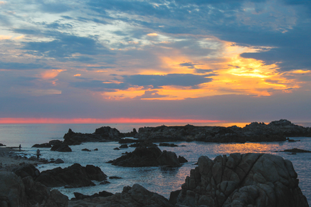 Sunrise on the Rocky Monterey Foto de archivo
