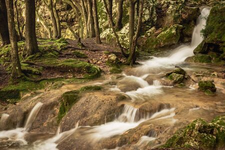 Rapid river running through the stones in an amazing green mediterranean mountain forest with waterfall and broken trees long exposure
